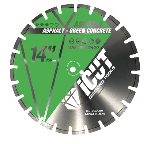 14-Inch Asphalt Diamond Blade - High Segments w/U Gullets Ideal for Asphalt, Green Concrete and Abrasive materials