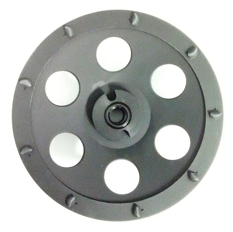 "5-Inch PCD Cup Wheel Grinder 5/8""-11 Threaded - 8 Segments - Poly Crystaline Cup for Removing Epoxy, Glue, Paint and Mastic"