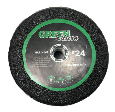 "5"" Green Silicon Carbide Grinding Stone - for Shaping Terrazo, Marble, Travertine, Granite - Arbor 5/8"" - 11 (Grit 24)"