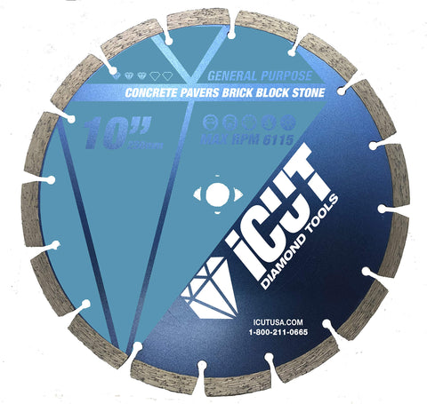 iCut Premium Segmented 10mm Diamond Saw Blade General Purpose (10 Inch)