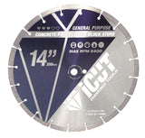 "5 - Pack 14"" Segmented General Purpose Cutting Saw Diamond Blades 10mm for Concrete, Block, Brick, Pavers"