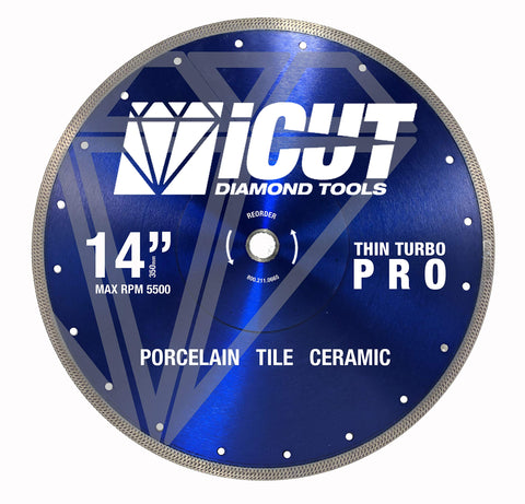 "Thin Rim Turbo Pro Diamond Blade - Cuts Ceramic Tile, Porcelain Tile and Porcelain Paver (14"")."