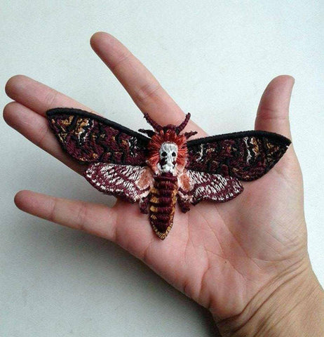 death head moth embroidery hand made inchoo bijoux