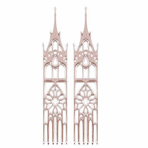 14K rose gold moon temple cathedral earrings, what is rose gold