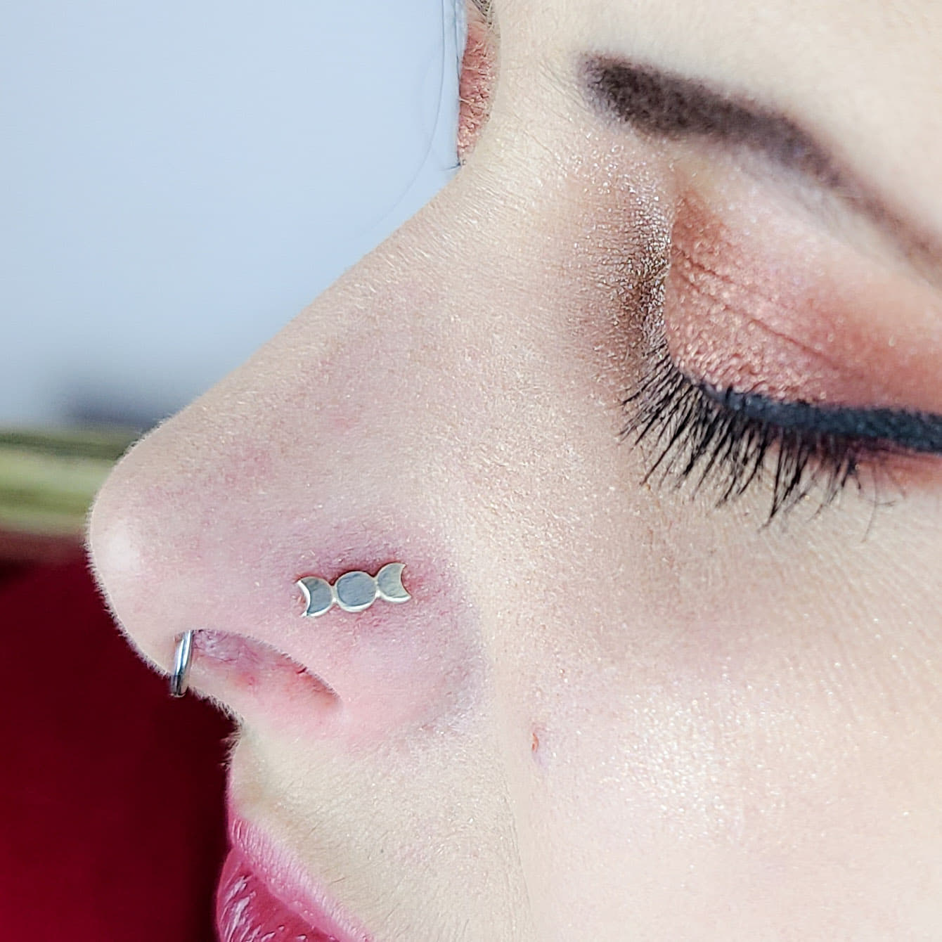 Silver Moon Phase Nose Stud - Inchoo Bijoux