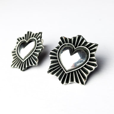 Silver Sacred Heart Stud Earrings-Earrings-Inchoo Bijoux-Silver-Inchoo Bijoux