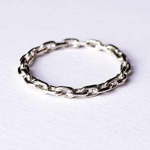 Solid Silver Chain Ring - Inchoo Bijoux