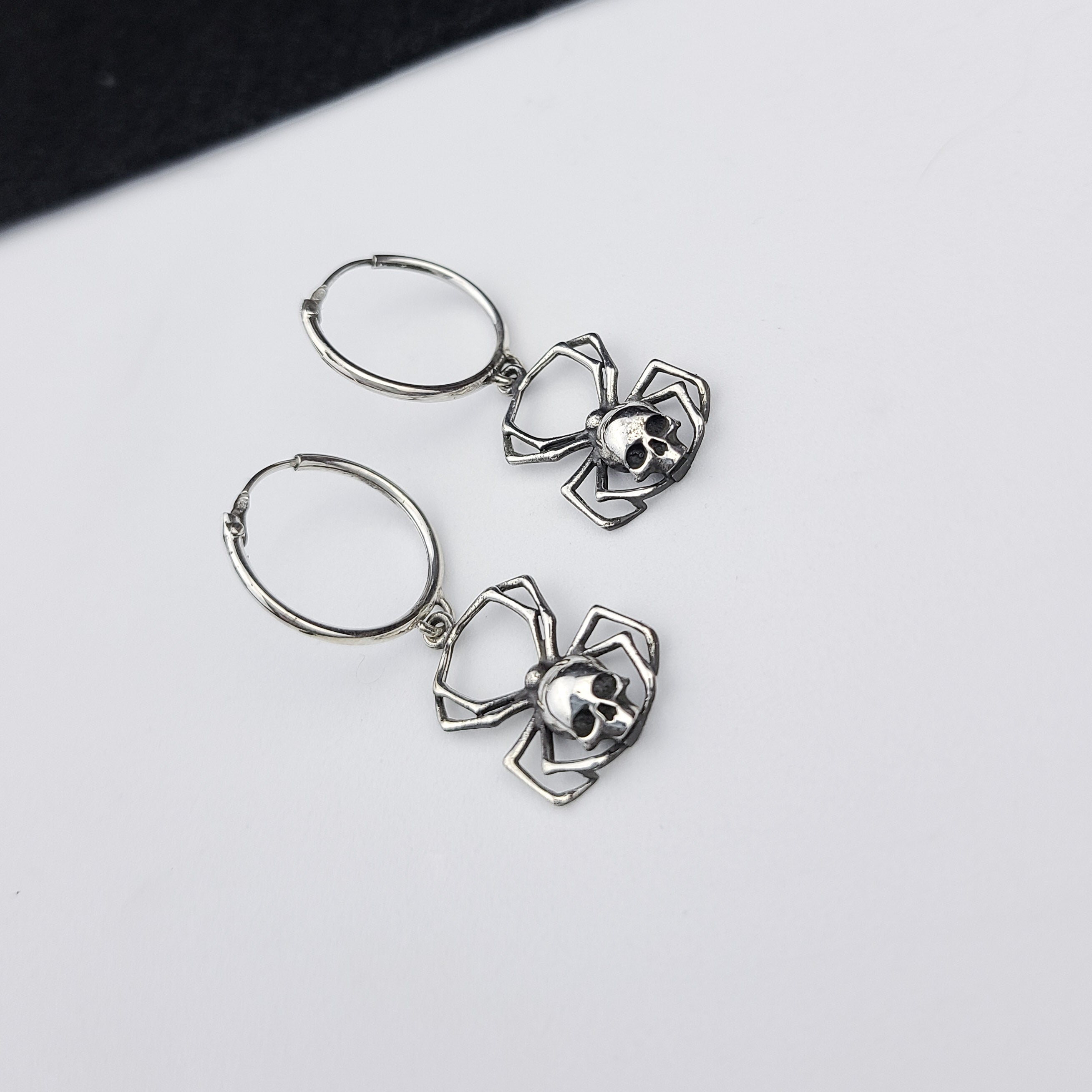 Skull Spider Hoops in Silver