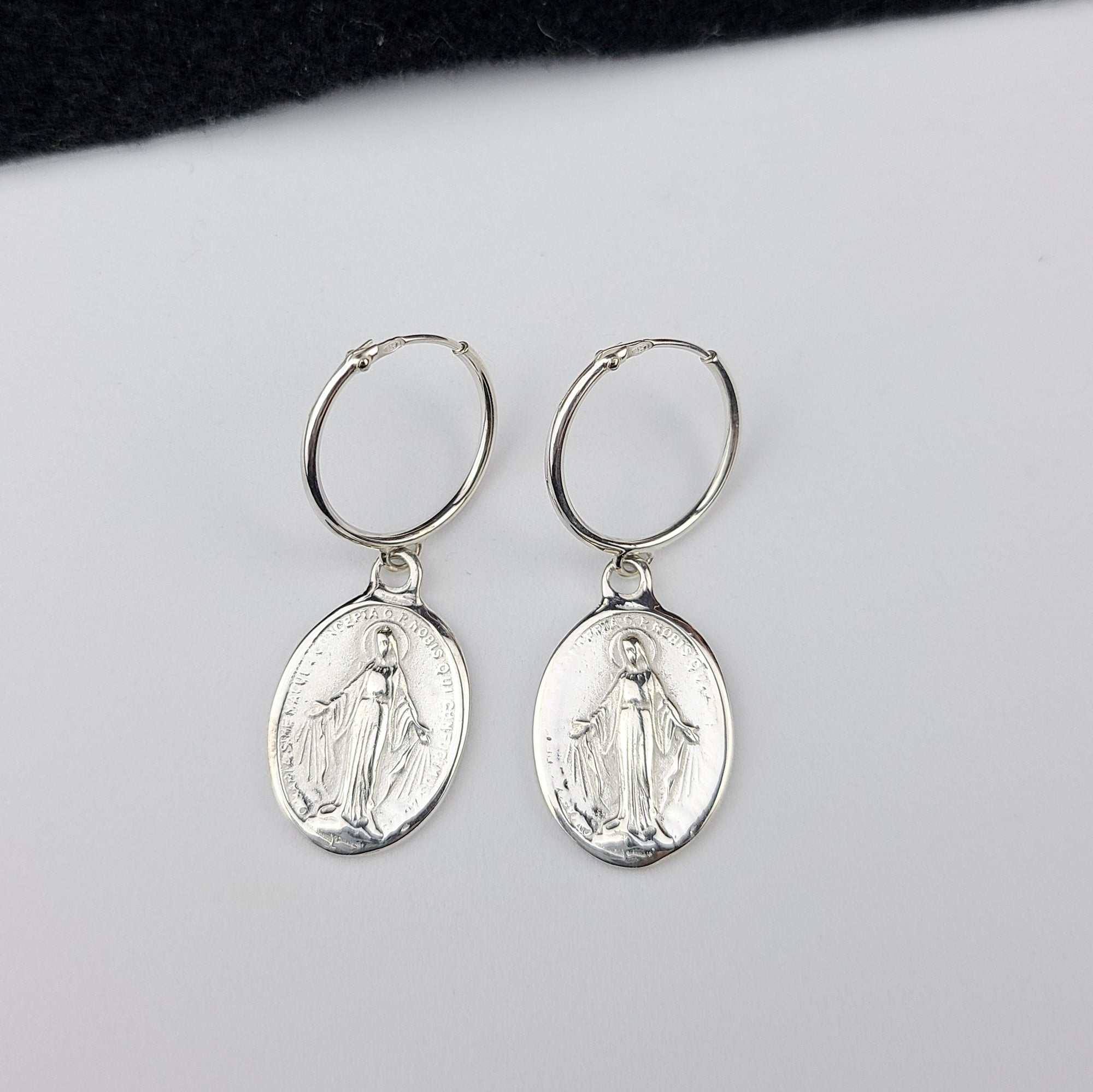 Oval Virgin Mary Medallion Hoop Earrings