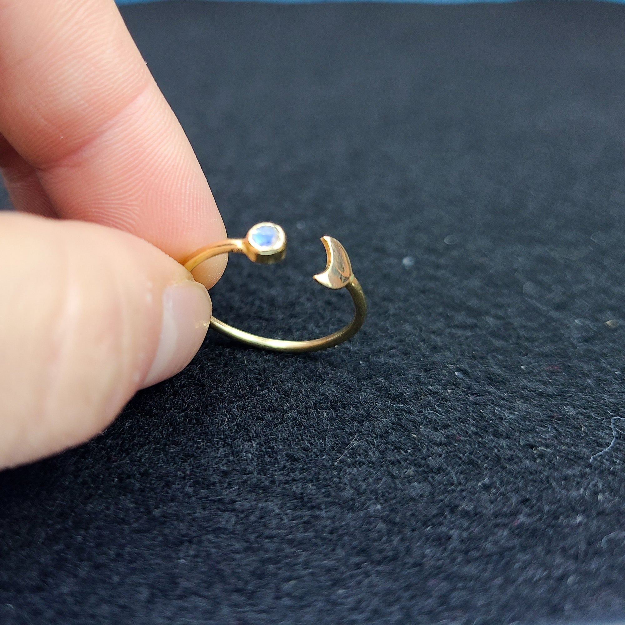 Yellow Gold Rainbow Moonstone Moon Crescent Ring 10K - 14K