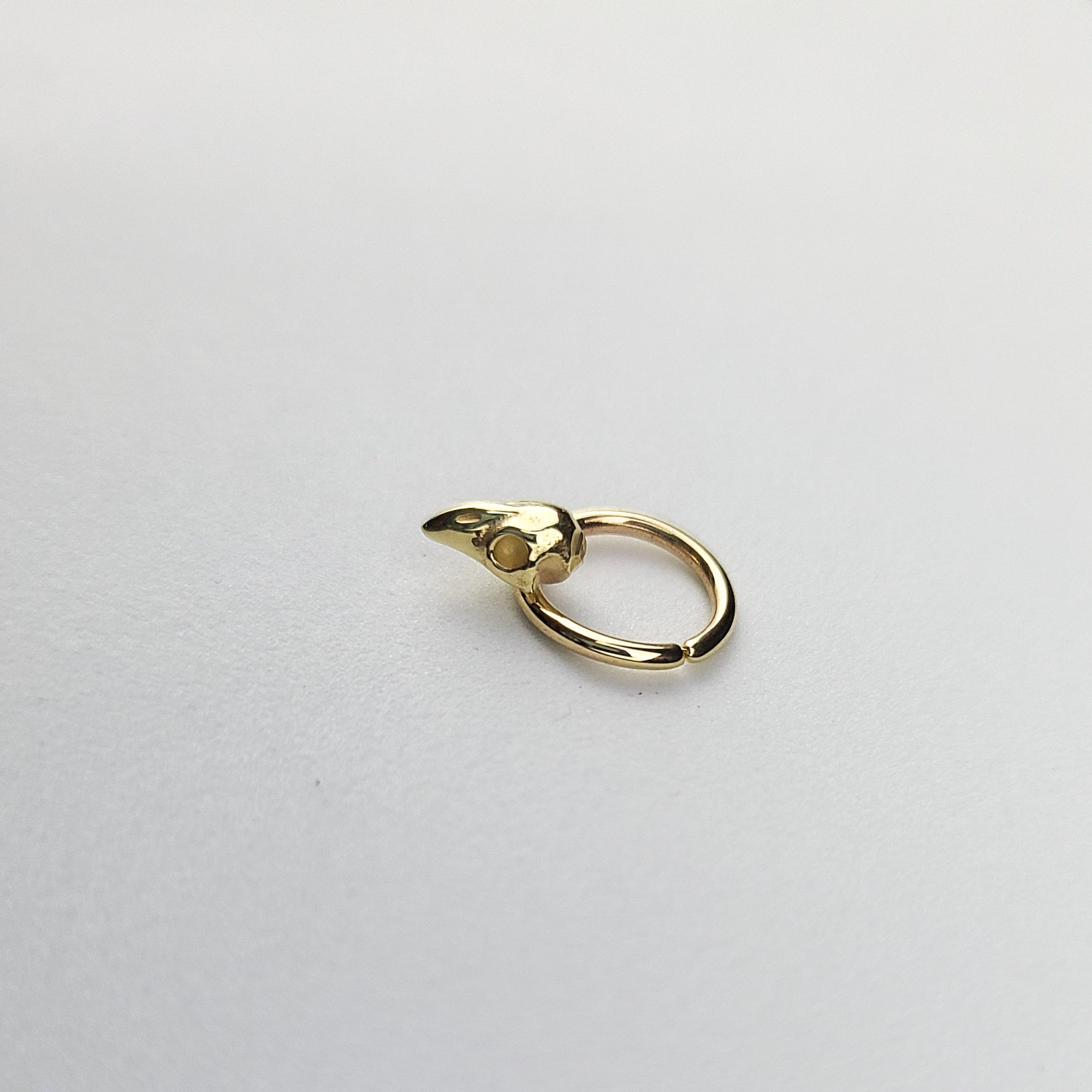 Yellow Gold Bird Skull Septum, Bird Nose Ring 10K - 14K