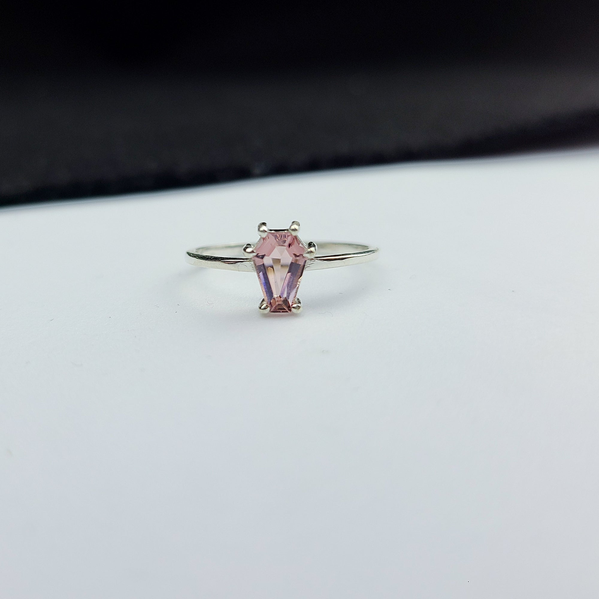 Dust Pink Coffin Gemstone Ring