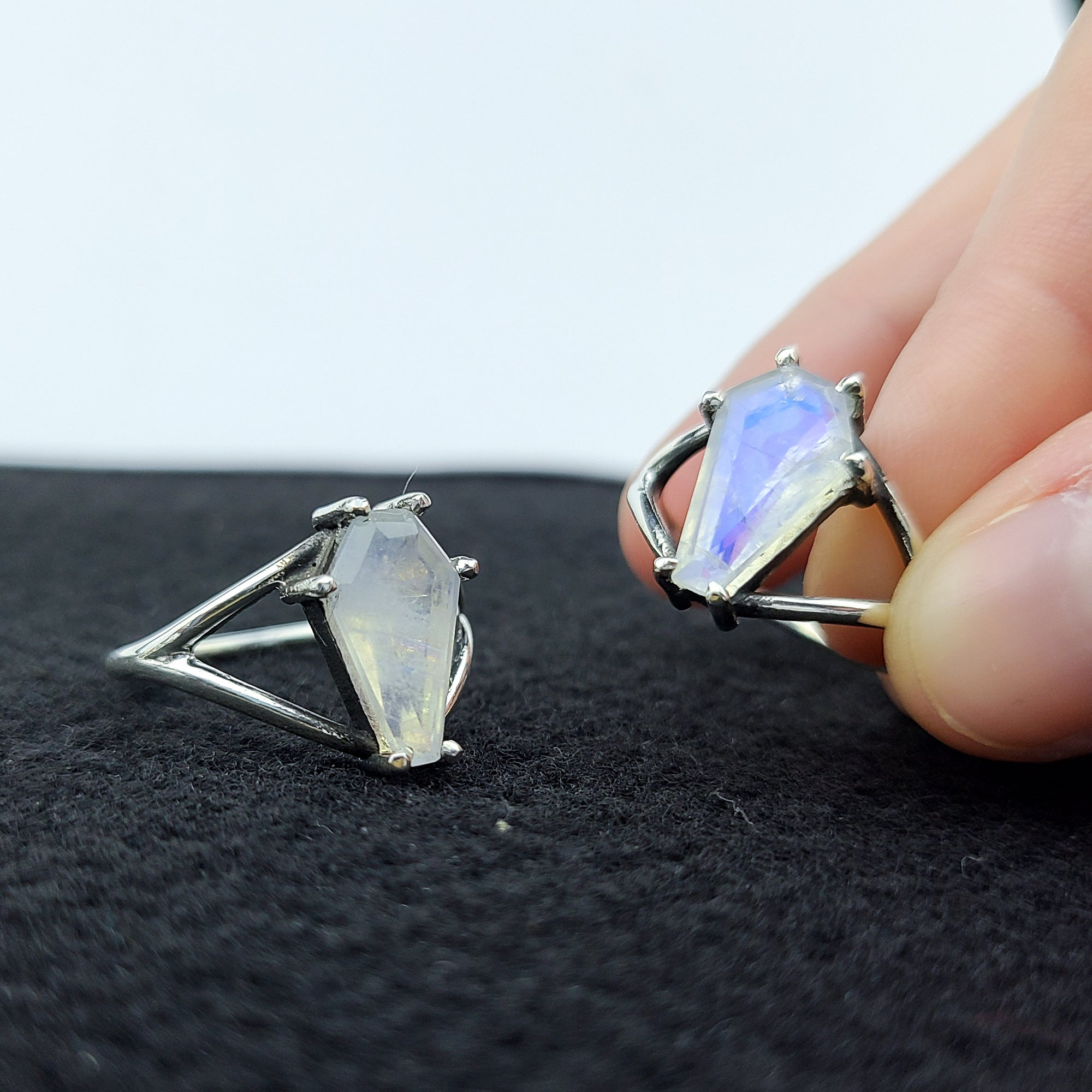 Big Rainbow Moonstone Coffin Ring