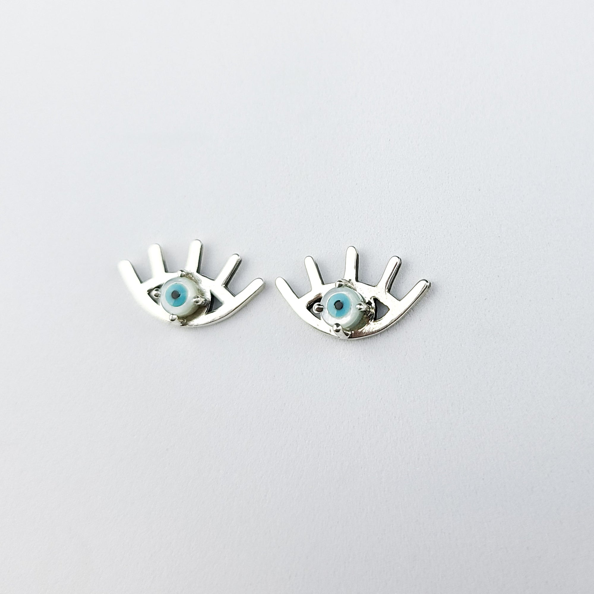Mother of Pearl Evil Eye Stud Earrings