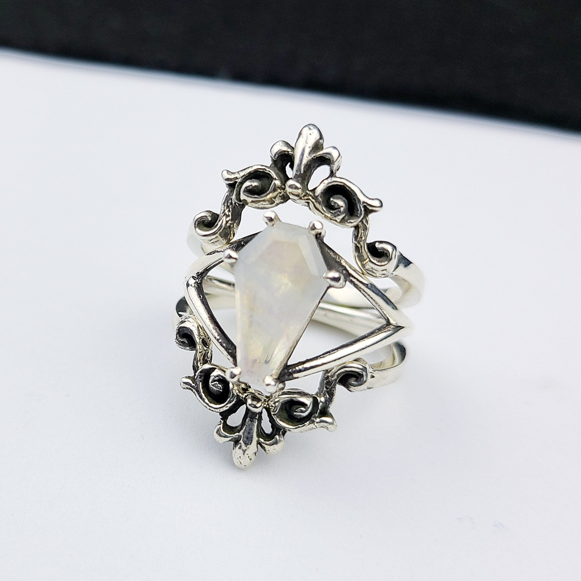 Rainbow Moonstone Coffin Ring with Baroque Lace Stacking Ring Combo