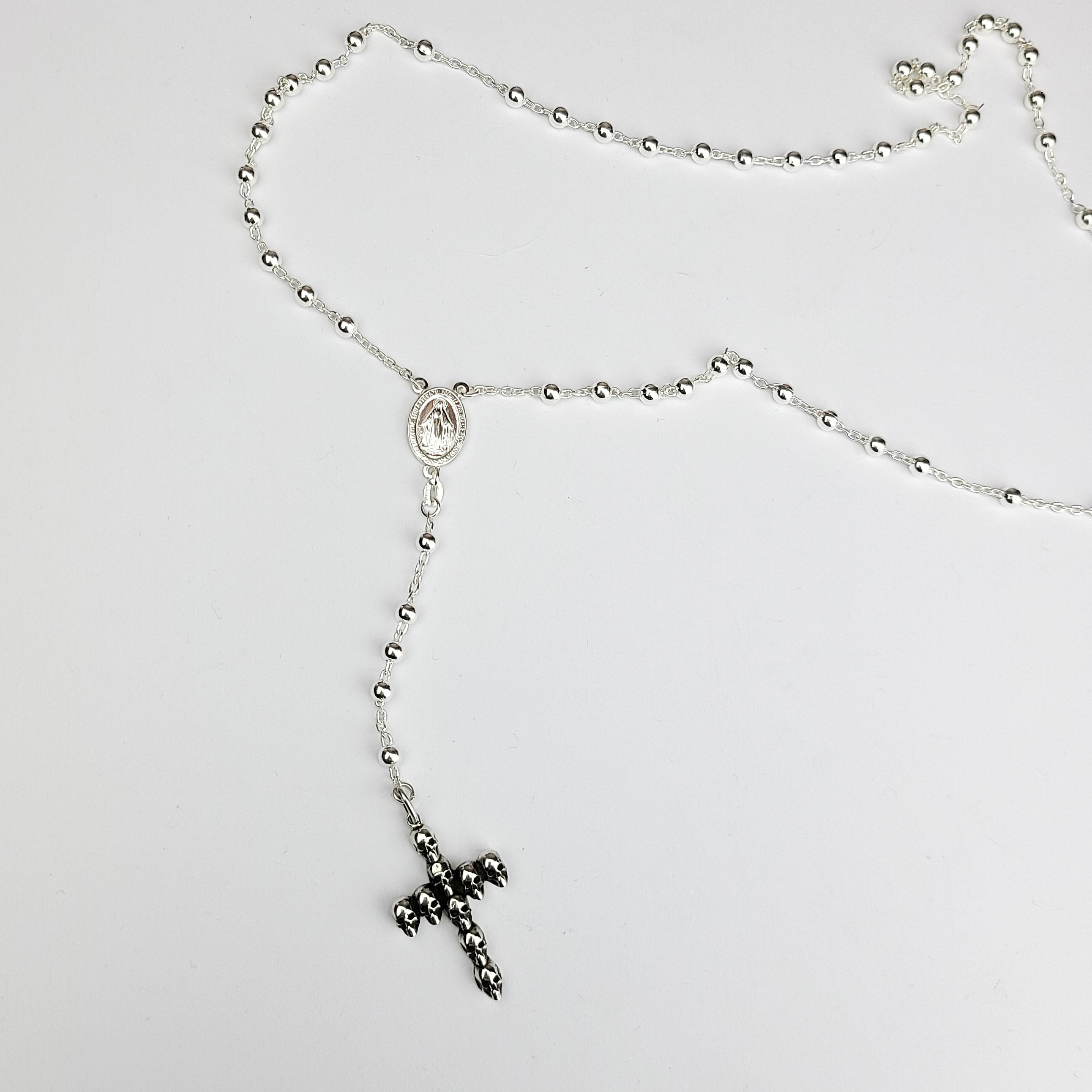 4mm Rosary Prayer Bead Necklace