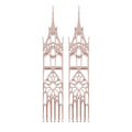 14K Rose Gold Moon Cathedral Earrings