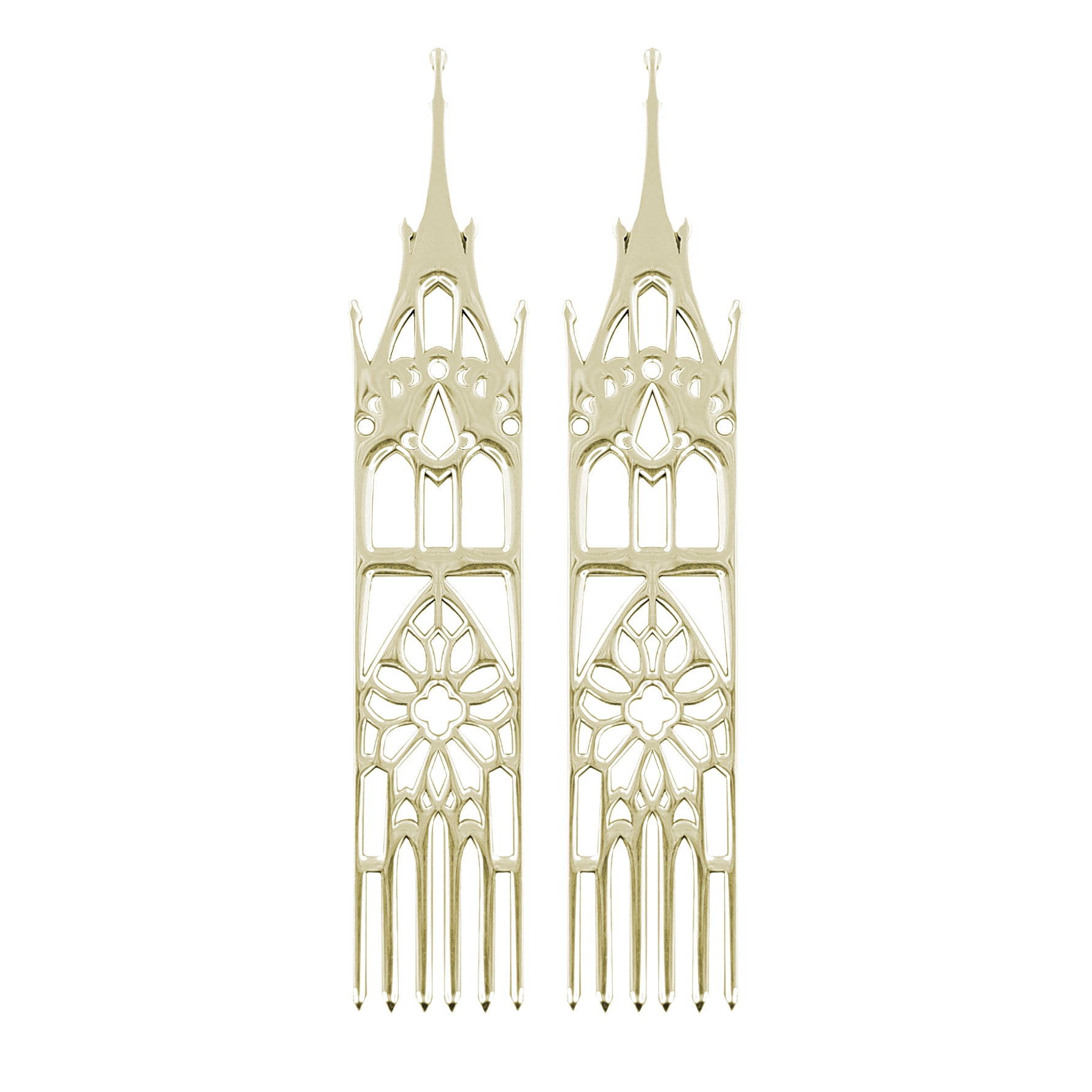 14K Yellow Gold Temple Earrings-Earrings-Inchoo Bijoux-Inchoo Bijoux