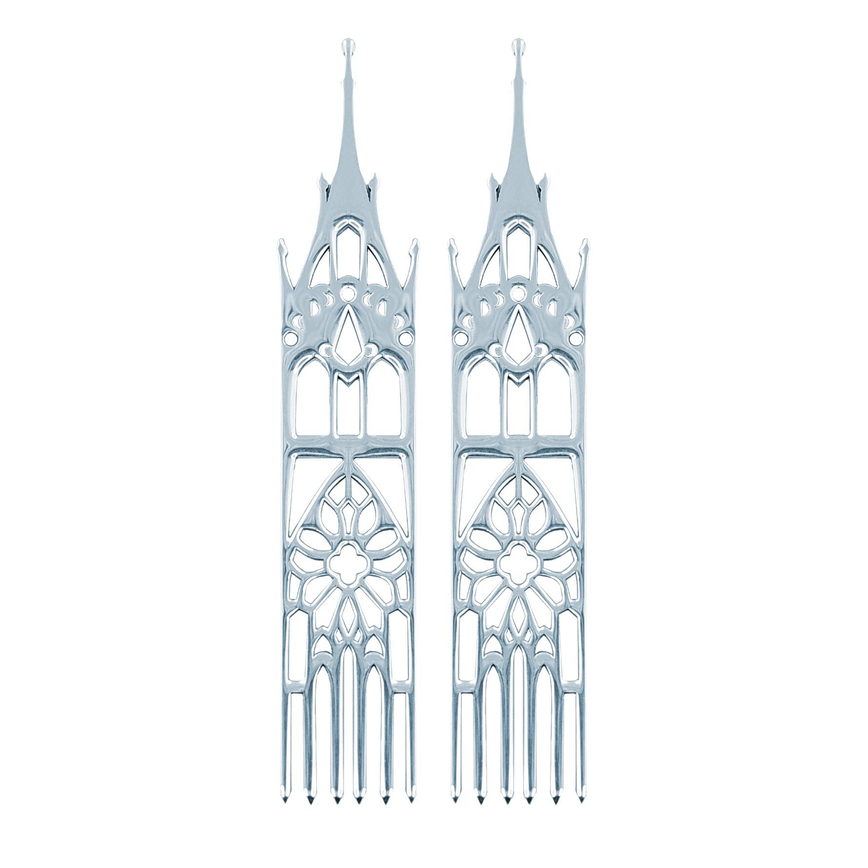 Sterling Silver Moon Cathedral Temple Earrings-Earrings-Inchoo Bijoux-Inchoo Bijoux