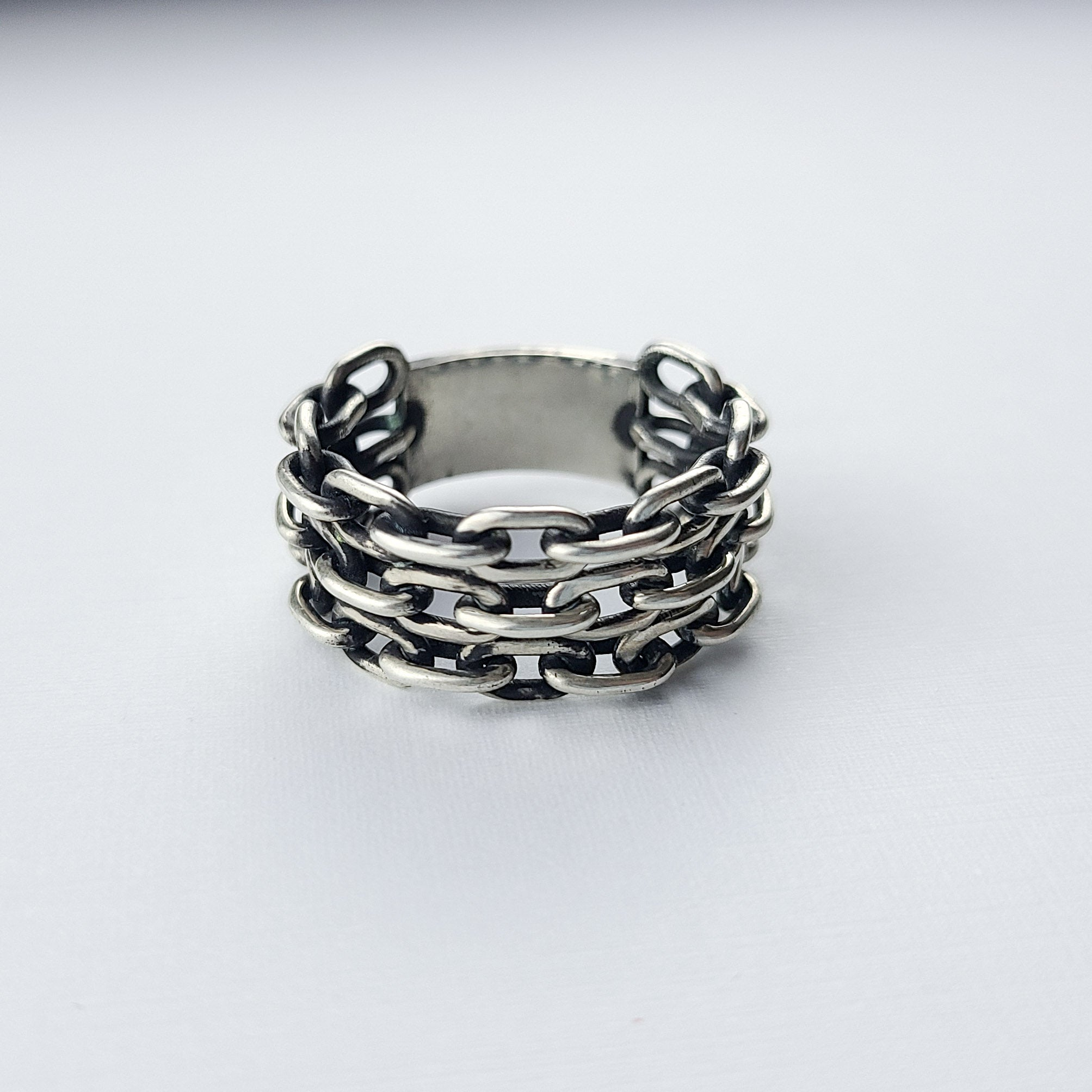 Wide 3 Row Keeper Chain Ring