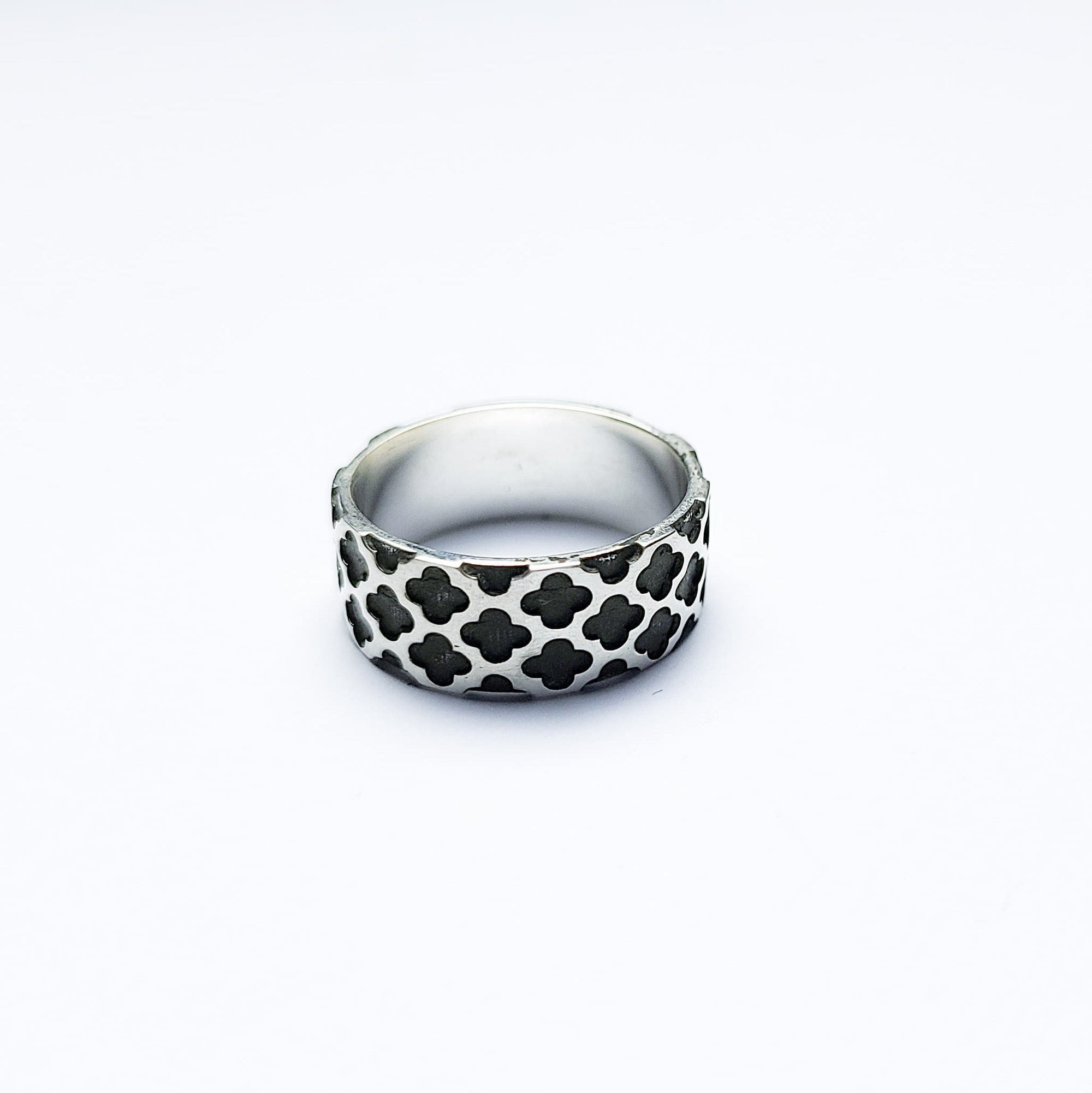8mm Wide Confessional Pattern Ring Band-Ring-Inchoo Bijoux-Inchoo Bijoux