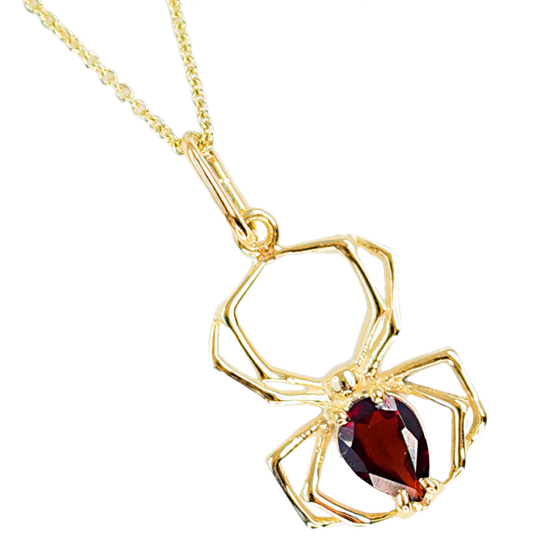 14K Yellow Gold and Garnet Spider Pendant-Pendant-Inchoo Bijoux-Inchoo Bijoux