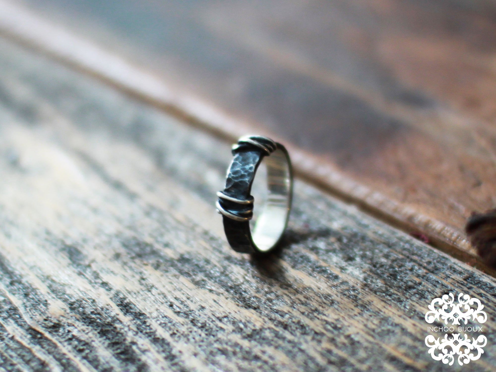 5mm Hammered Silver Mens Wedding Band Ring - Inchoo Bijoux