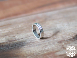 Silver Lined Ring Band - Inchoo Bijoux