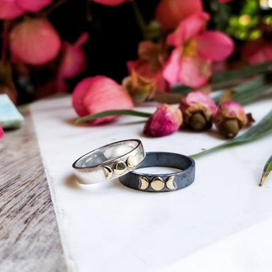 10k Gold and Silver Moon Phase Wedding Band - Inchoo Bijoux