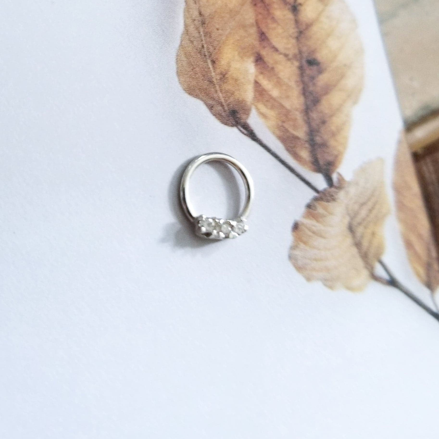 3 Clear Cz Silver Nose Ring - Inchoo Bijoux