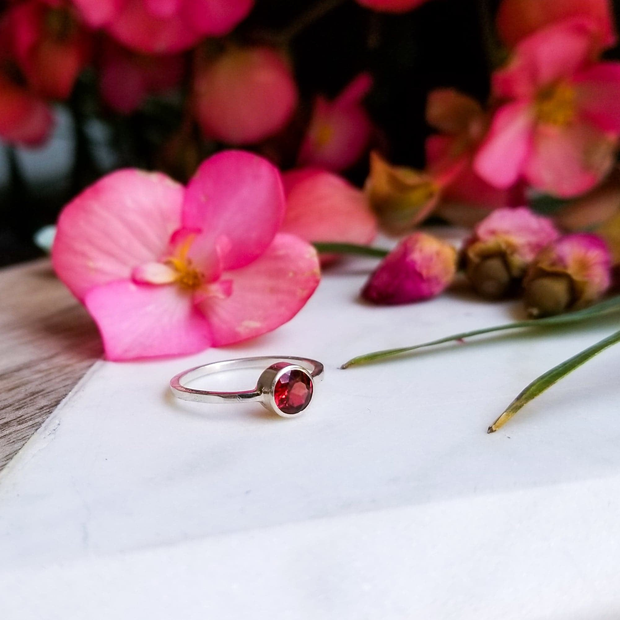 Genuine Garnet Stacking Ring-Ring-Inchoo Bijoux-Inchoo Bijoux