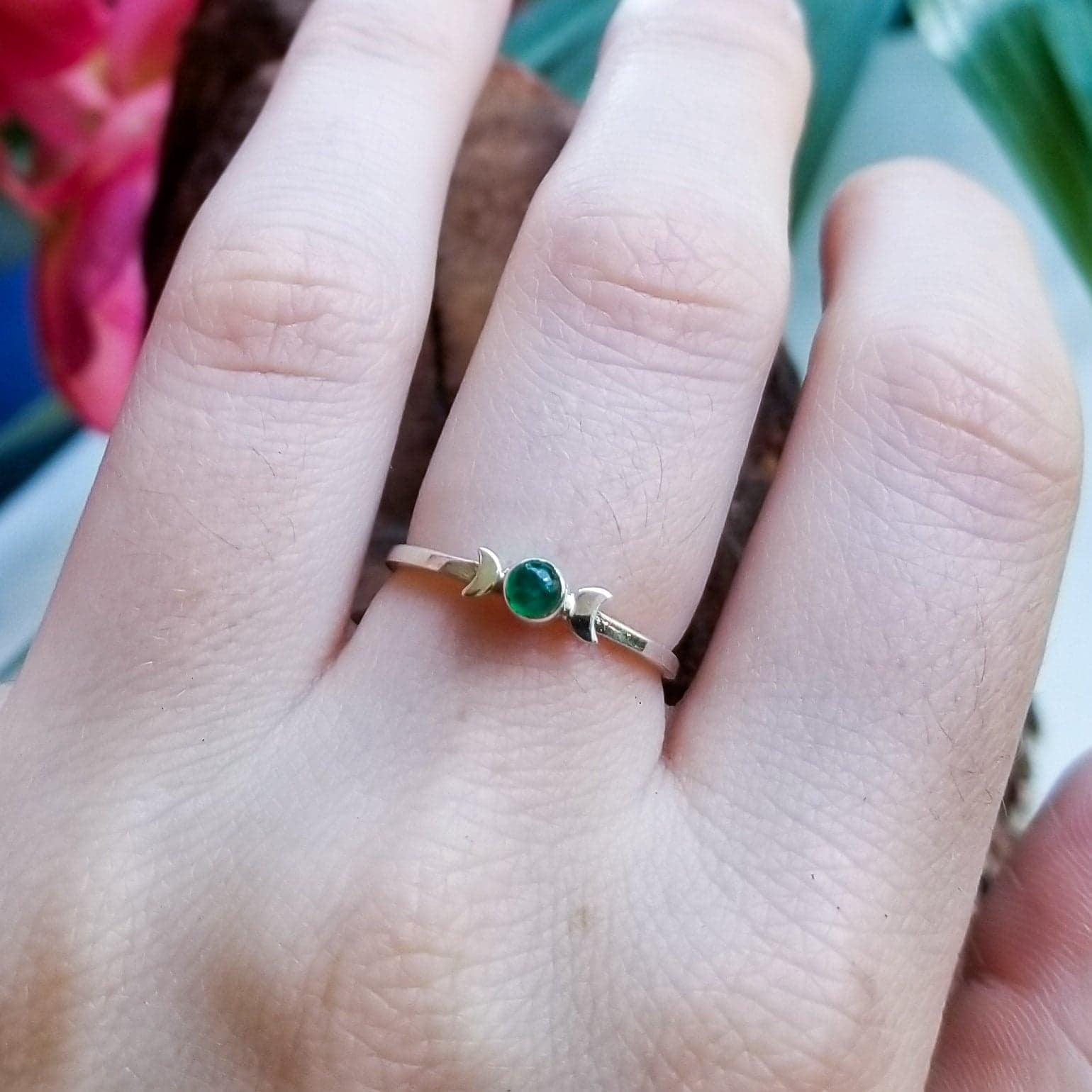 Emerald Moon Phase Ring-Ring-Inchoo Bijoux-Inchoo Bijoux