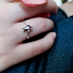 Purple Amethyst Coffin Ring - Inchoo Bijoux