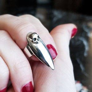 Skull Stiletto Midi Fake Nail Ring - Inchoo Bijoux