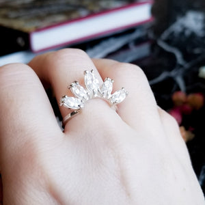 Marquise Cz Curved Ring - Gemstone Engagement Ring - Inchoo Bijoux