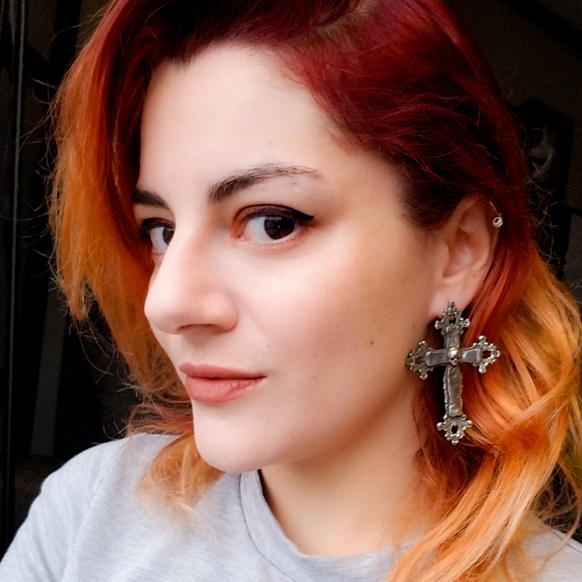 Large Gothic Cross and Skull Earrings - Inchoo Bijoux