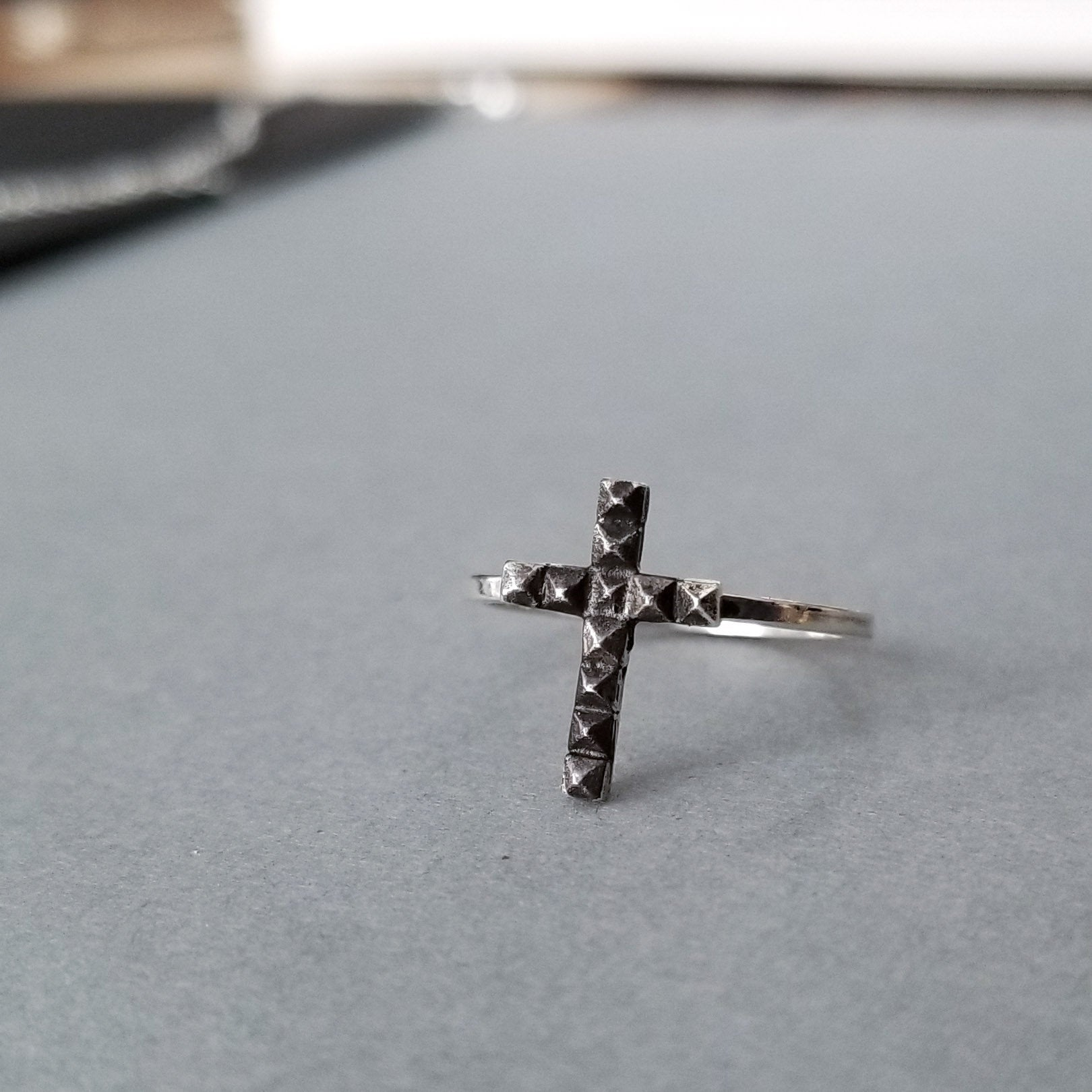 Tiny Studded Cross Ring-Ring-Inchoo Bijoux-Inchoo Bijoux