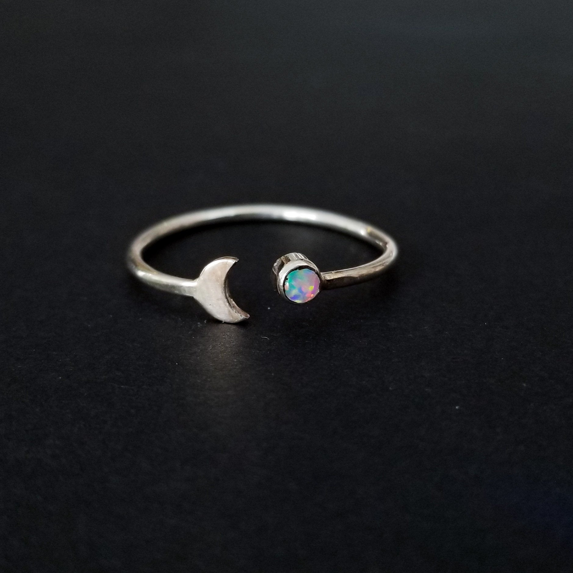 Opal Crescent Moon Ring-Ring-Inchoo Bijoux-Inchoo Bijoux