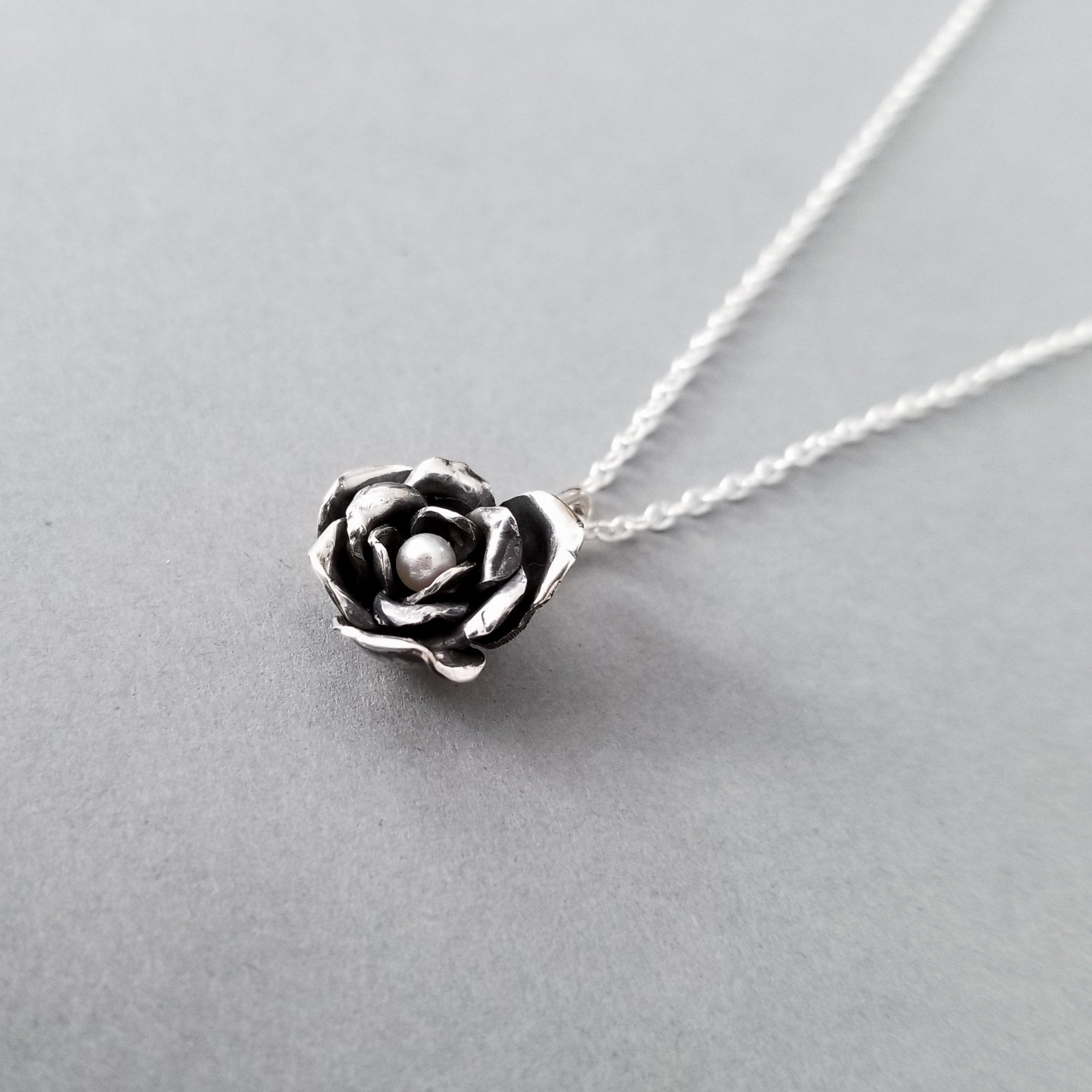 Silver Forged Rose Pendant - Inchoo Bijoux
