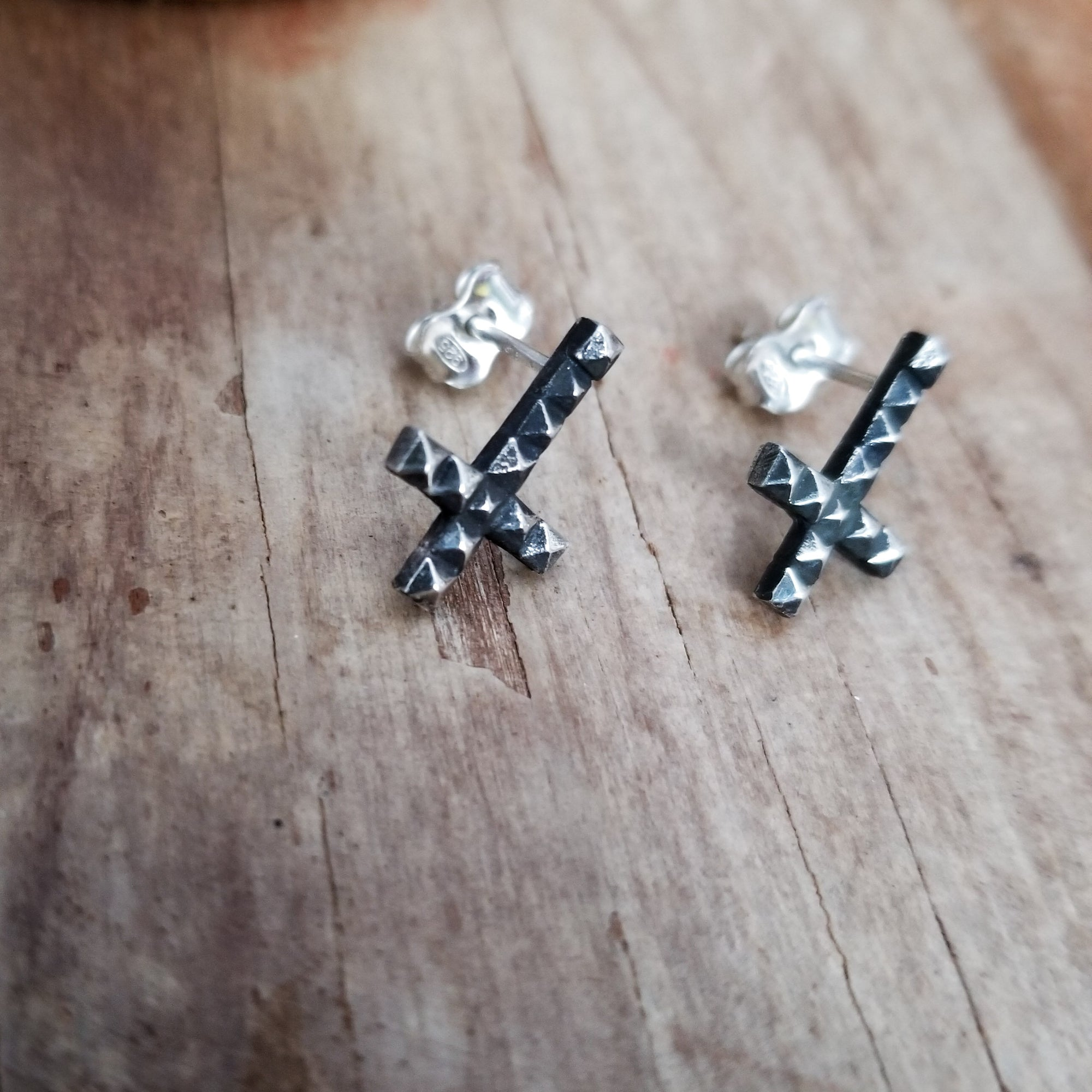 Inverted Studded Cross Small Earrings - Inchoo Bijoux