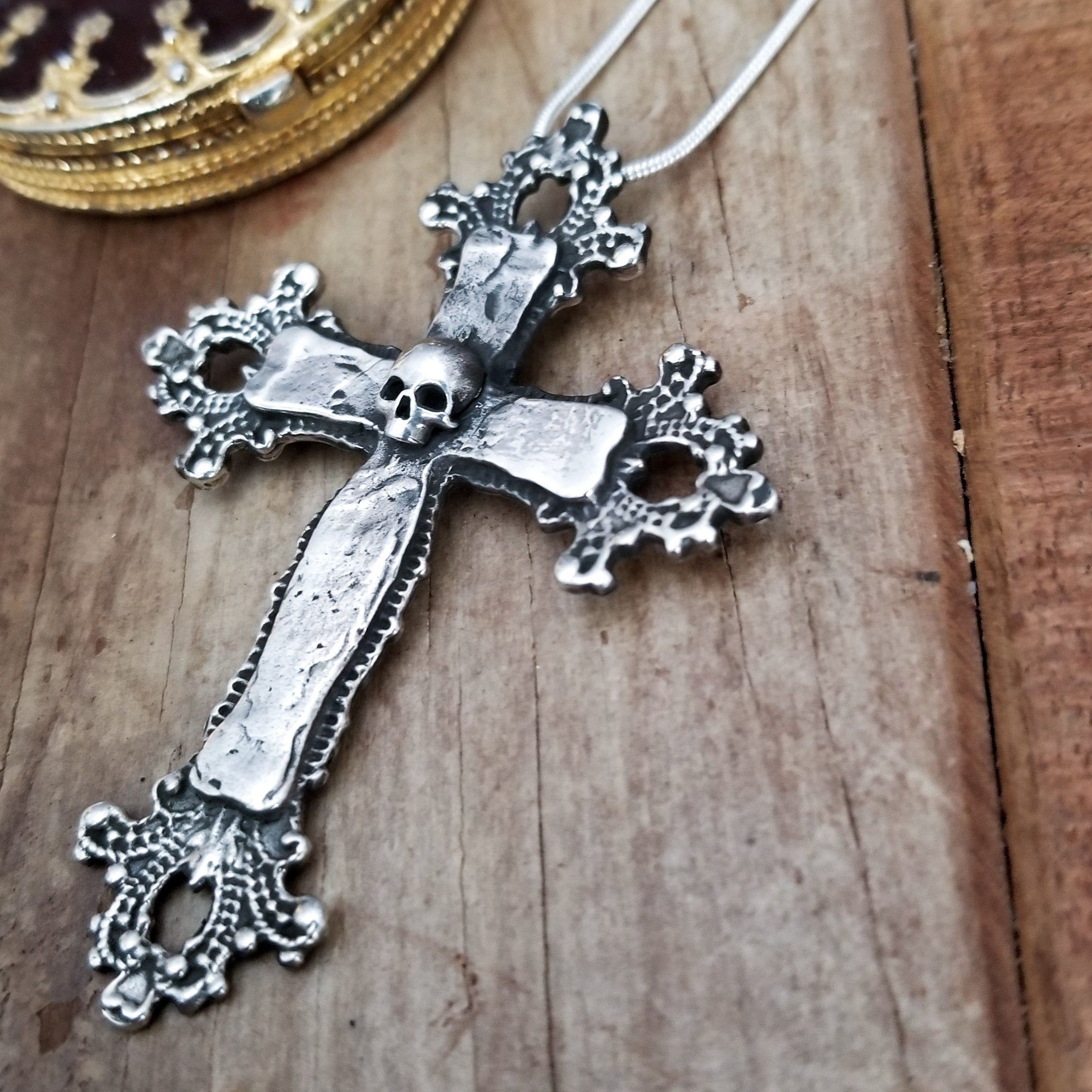 Big Baroque Silver Skull Cross Pendant - Inchoo Bijoux