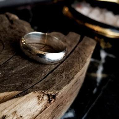 Simple Wide Half Round Mens Ring - Inchoo Bijoux