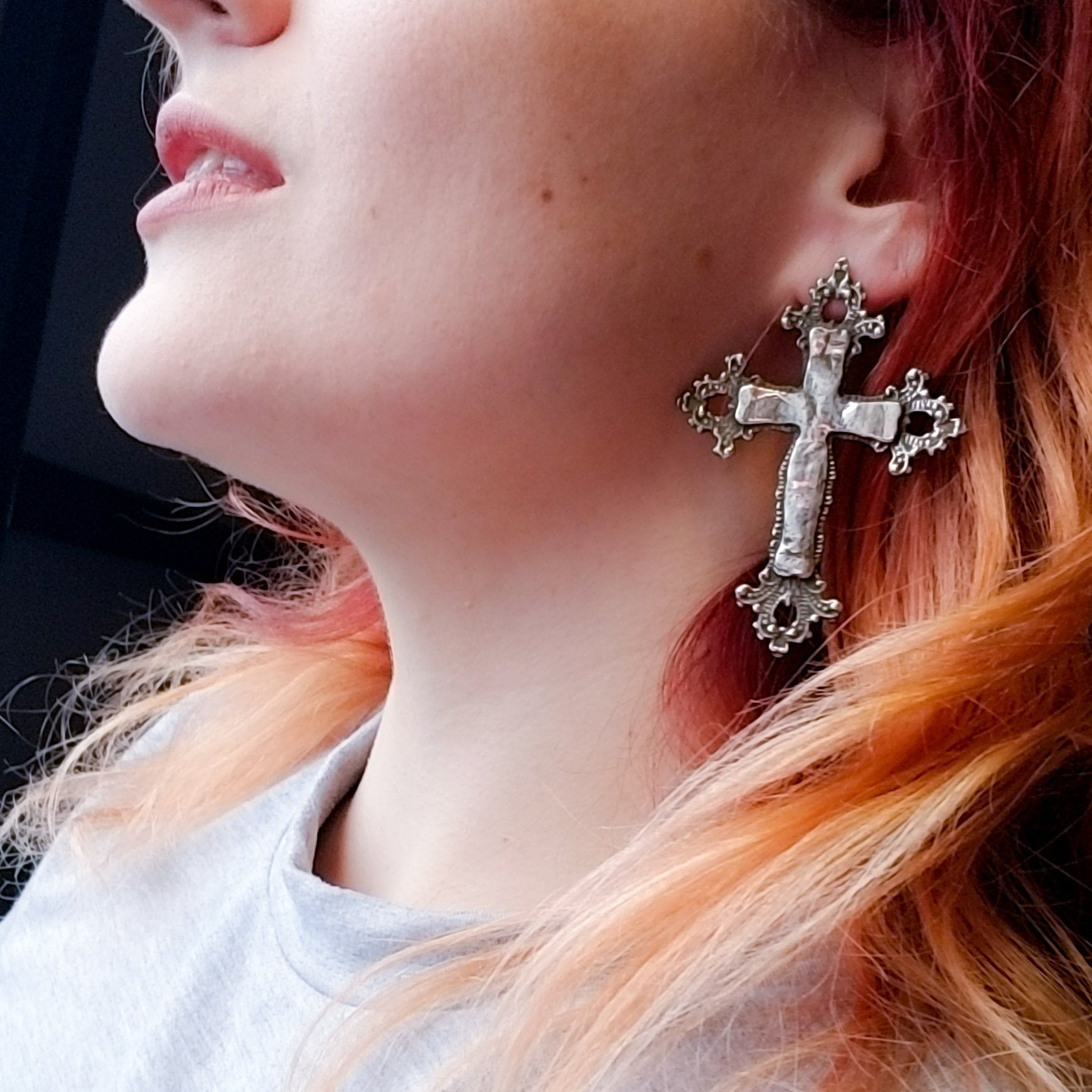 Large Baroque Cross Earrings - Inchoo Bijoux