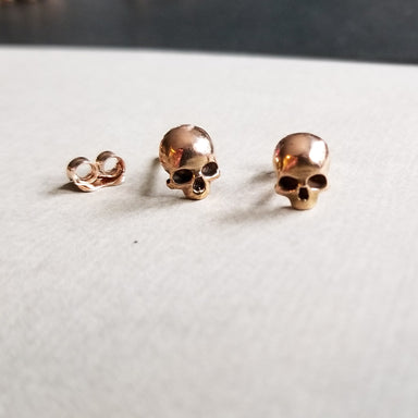 14K Rose Gold Skull Stud Earrings - Inchoo Bijoux