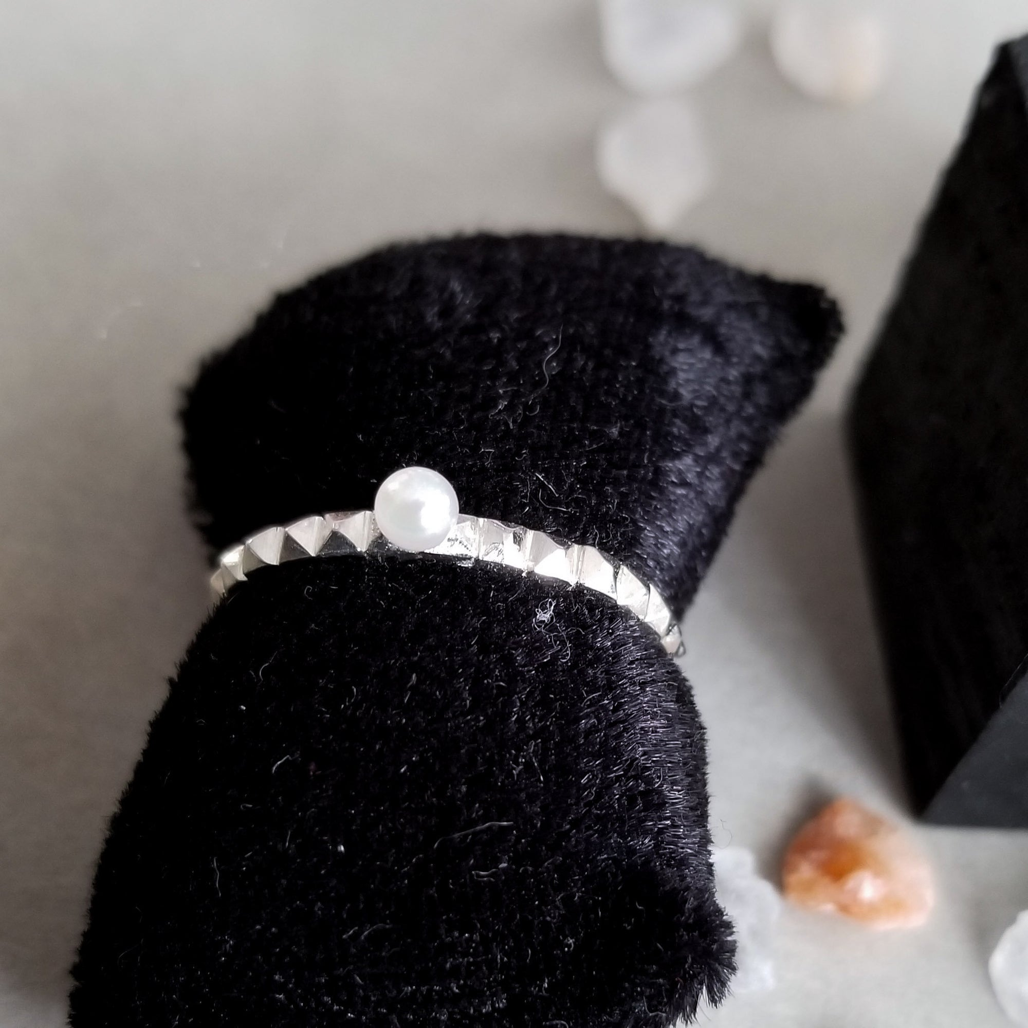 Thin Studded Pearl Ring - Inchoo Bijoux