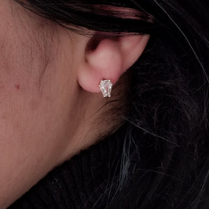 White Sapphire Coffin Stud Earrings - Inchoo Bijoux