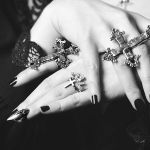 Studded Cross Stiletto Midi Fake Nail Ring Claw - Inchoo Bijoux