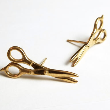 Yellow Gold Scissors Earrings 10K - 14K - Inchoo Bijoux