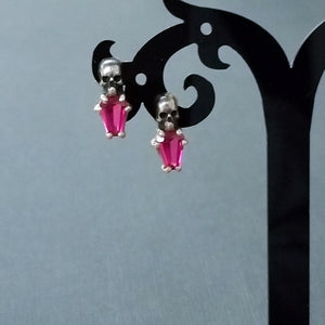 Skull Red Coffin Earrings - Inchoo Bijoux