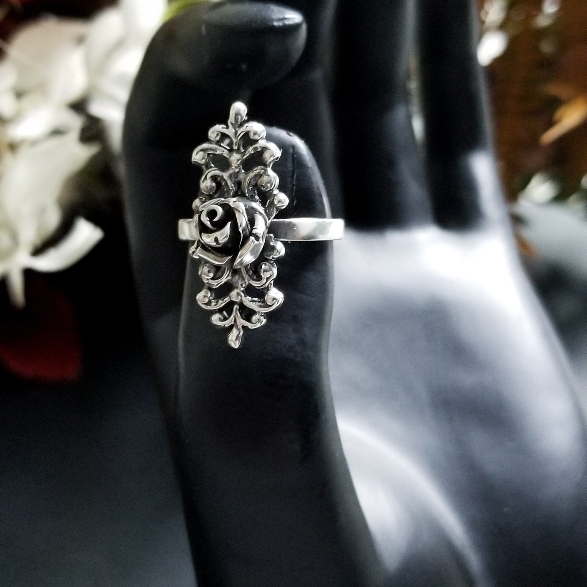 Silver Gothic Rose Ring with Lace - Inchoo Bijoux